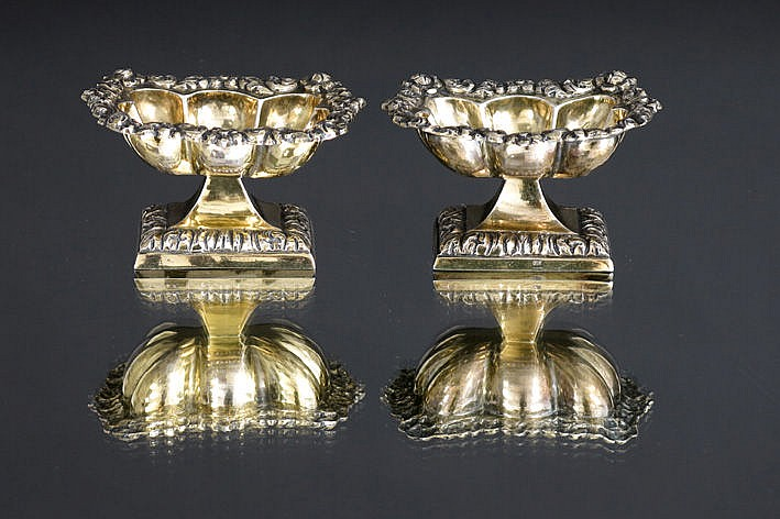 pair of (�) antique salts in marked guilded silver