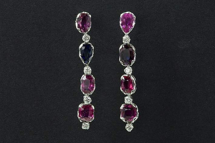 pair of earrings in white gold (18 carat) with ca 1650 carat of natural pink sapphires and ca 1 carat of very high quality brilliants