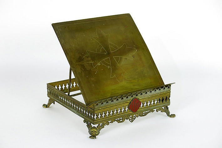 antique reading desk in bronze and brass