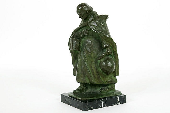 19th Cent. Belgian sculpture in bronze with green patina on a marble base
