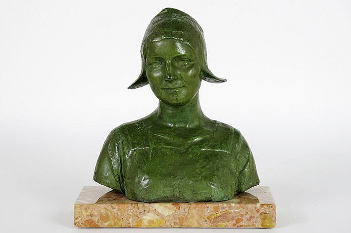 sculpture in bronze on its marble base  -  signed