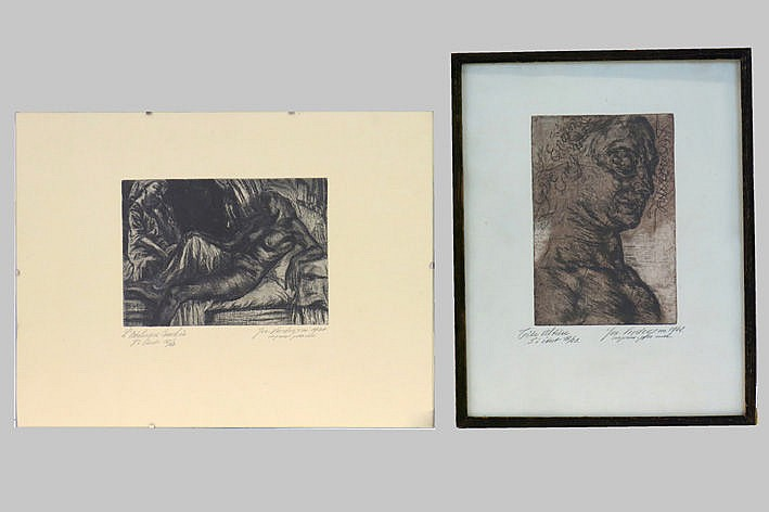 2 etchings - signed and dated