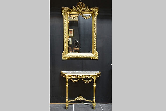 guilded neoclassical ensemble with a console/bracket (marble-topped) and mirror