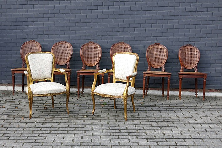 set of 8 Louis XVI style chairs in carved wood and a pair of Louis XV style armchairs