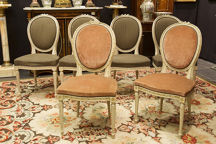 set of 6 (�) Louis XVI style chairs in painted wood