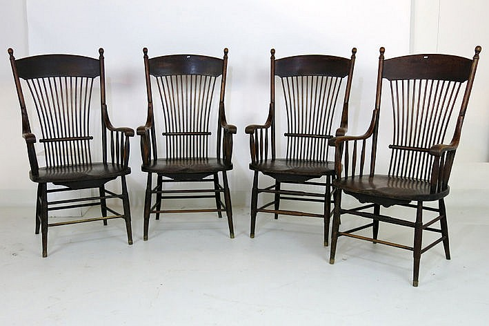 set of 4 antique armchairs in elm