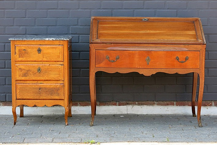 18th Cent. probably French Louis XV style bureau in fruitwood & an antique small Louis XV-chest of drawers with its marble top