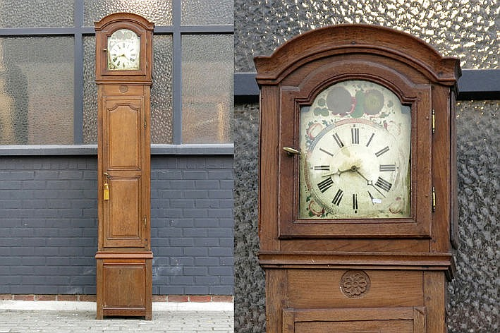 antique longcase clock with a case in oak