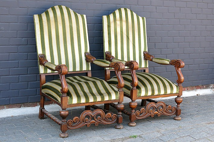 pair of baroque style castle armchairs in walnut