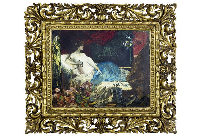 19th Cent. Russian oil on canvas - signed  -  with a frame in carved and guilded wood