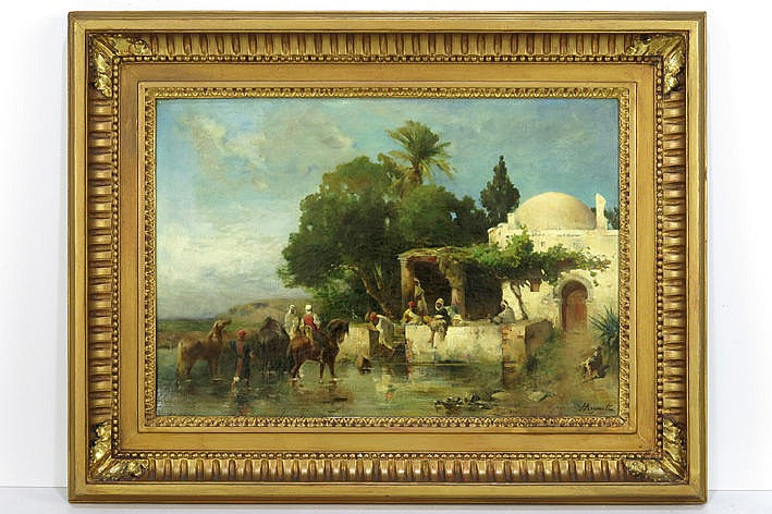 19th Cent. orientalistic oil on canvas - signed/attributed to  -  with old label on the back