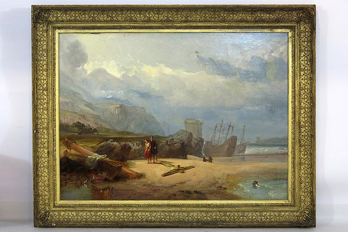 19th Cent. English oil on canvas - with an illegible signature