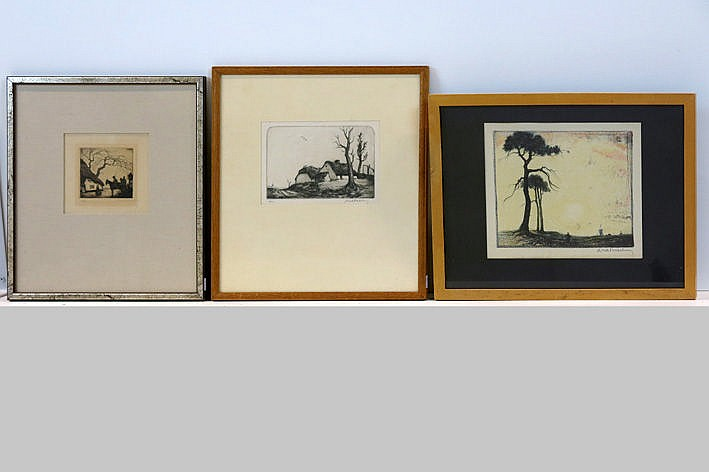 lithograph printed in colors and 2 etchings - signed