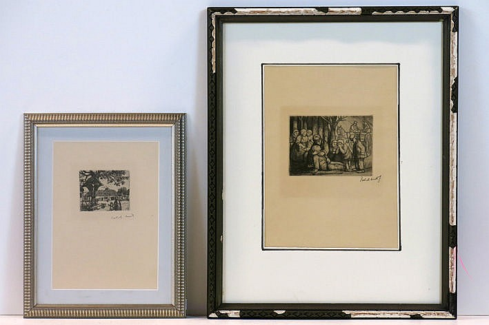 2 etchings - one is signed and one with atelier stamp