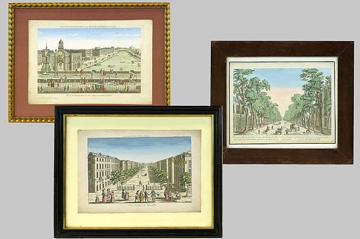 three handcoloured engravings with views from Paris - ca 1800