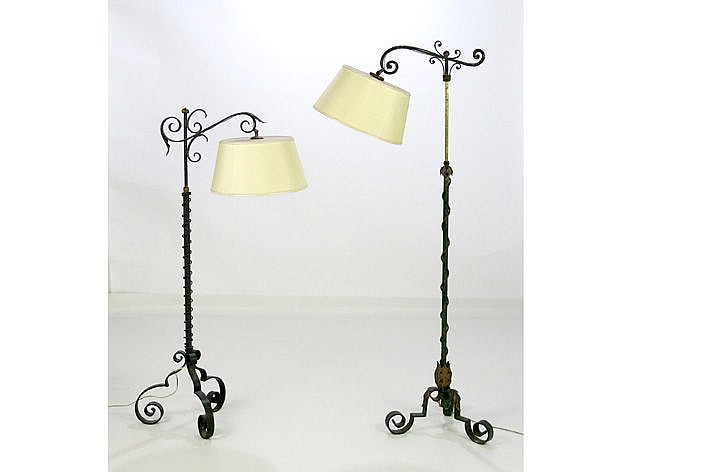 two forties' lamps with stand in wrought iron