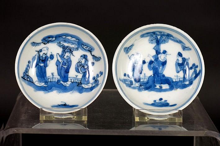 pair of small antique Chinese dishes in porcelain