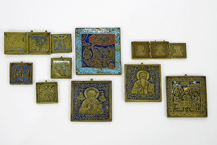 collection of 9 antique Russian travellers' icons