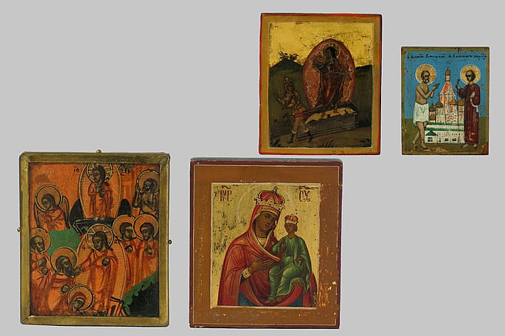 four small 18th/19th Cent. Russian traveler's icons