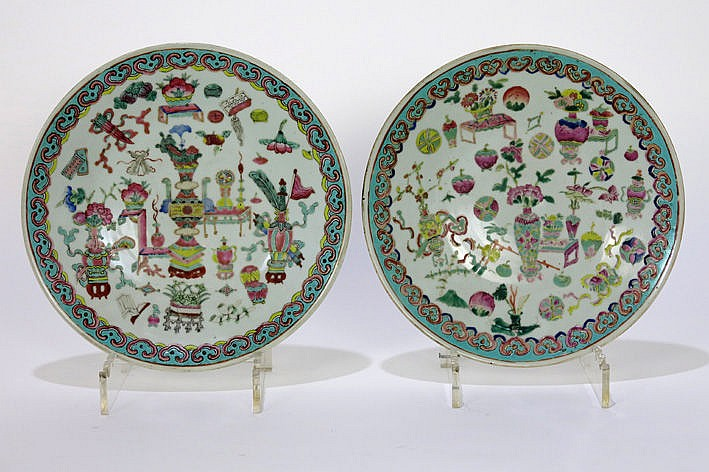 two 19th Cent. Chinese round dishes in porcelain