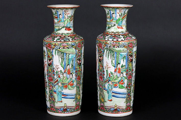 pair of antique Chinese vases in porcelain