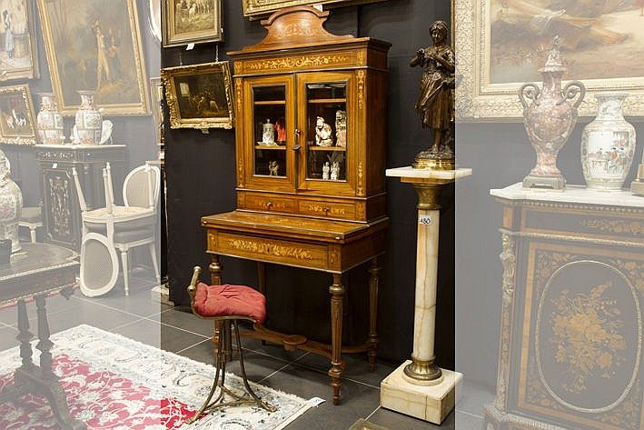 19th Cent.French Napoleon III-ladies' desk in marquetry - will be sold with a small antique chair in brass