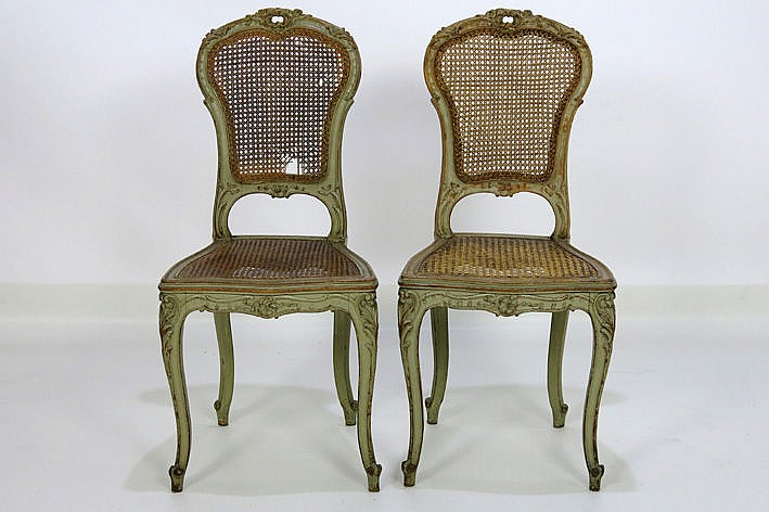 pair of (�) French 19th Cent. Louis XV style chairs in painted and sculpted wood
