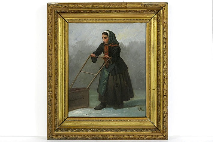 19th Cent. oil on board - with monogram