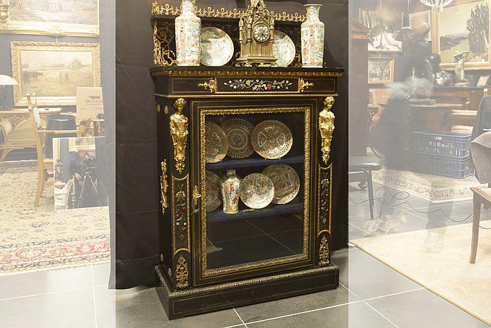 quite special 19th Cent. French Napoleon III-display cabinet in ebony with inlaid copper and pietra dura with very rich guilded bronze mountings and quite a special galery