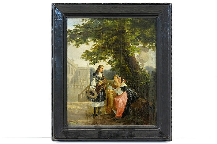 19th Cent. oil on panel  -  with monogram and dated