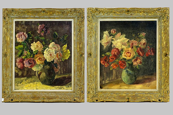 pair of oilpaintings on canvas - signed and one dated