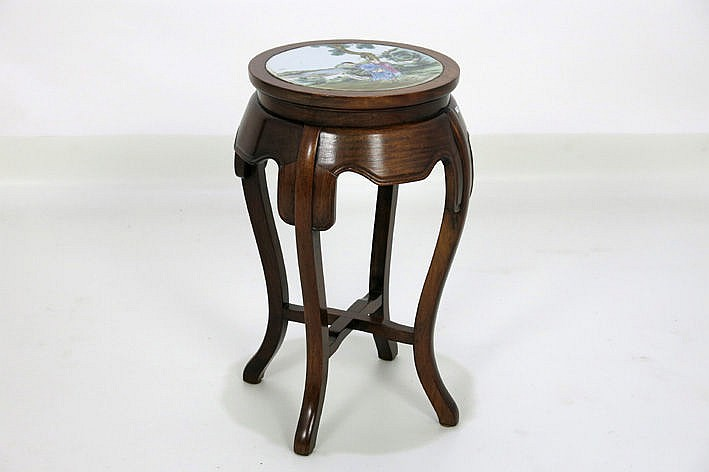 Chinese rose-wood pedestal with a round porcelain top