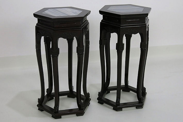 pair of Chinese rose-wood pedestals with marble top