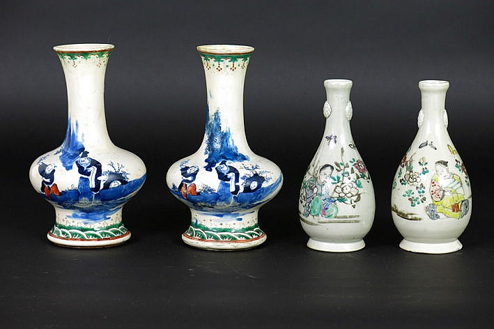 2 pairs of small vases in porcelain each with polychrome figures decor
