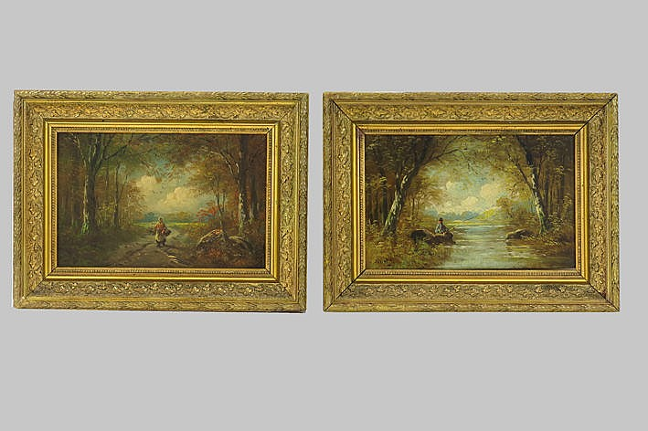 pendant late 19th Century - oilpaintings on panel - signed