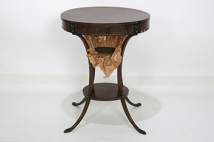 antique sewing table in mahogany with ebony and mother and pearl