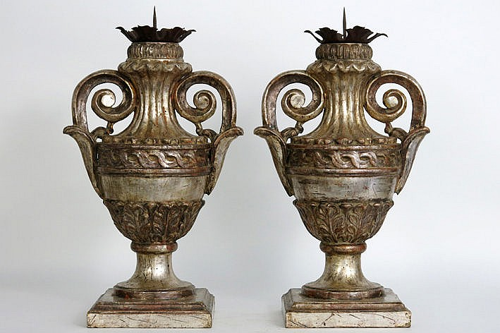 pair of (�) antique candelabra in the shape of vases in polychromed wood and wrought iron