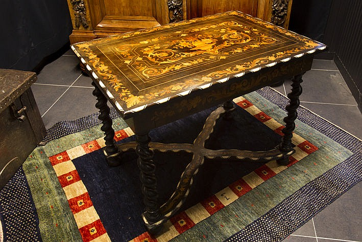 18th/19th Cent. Flemish table typical for Antwerp in marquetry with ivory
