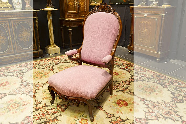 19th Cent. armchair in mahogany with contemporary upholstery