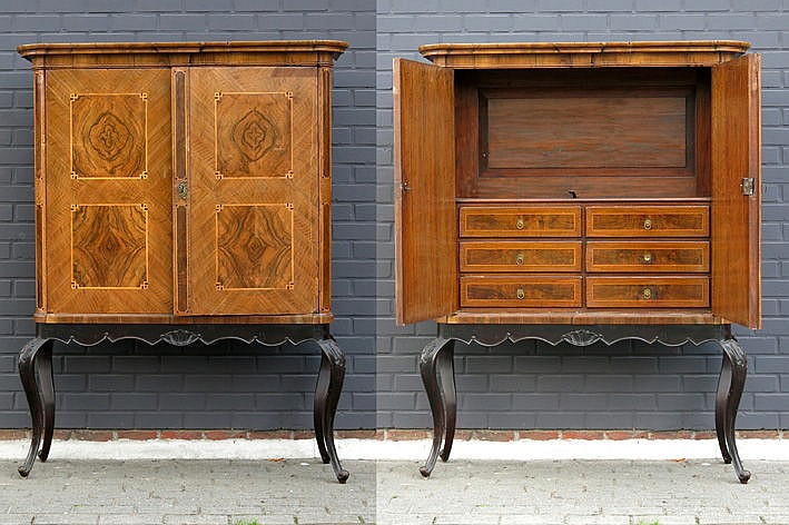18th Cent. quite special bureau-cabinet in parquetry on its stand in ebonised and carved wood