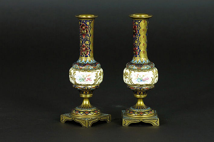 pair of (�) small antique vases in bronze with cloisonn� and with porcelain