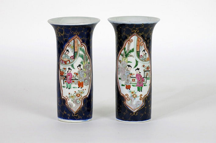 pair of small antique Japanese vases in marked porcelain with cobalt blue