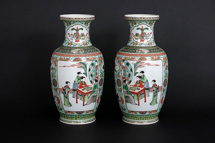 nice pair of Chinese vases in marked porcelain