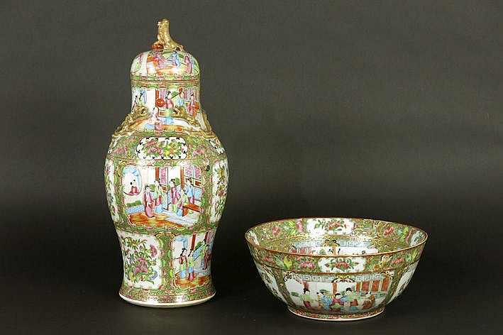 2 pieces of Chinese 19th Cent. porcelain : a lidded vase and bowl