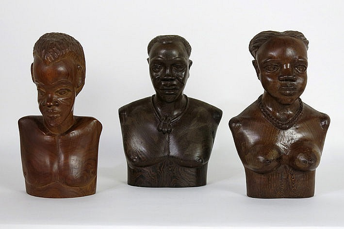 3 African busts in wood