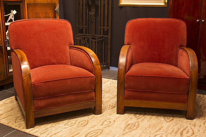 pair of (�) Art Deco armchairs in walnut