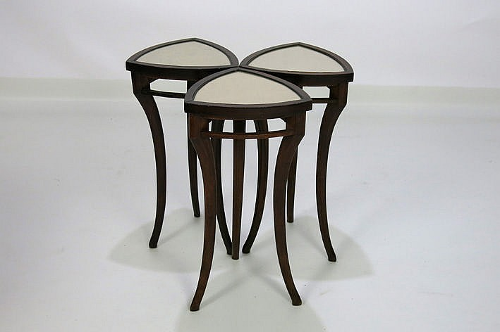 three (�) 19th/20th Cent. Belgian small Art Nouveau-tables with triangular top on three elegant legs