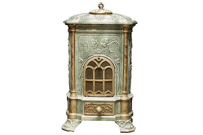 small enamelled Art Nouveau stove