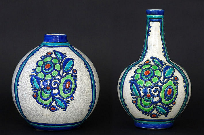 two (�) Art Deco-vases in marked ceramic