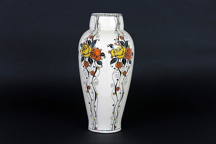 Art Deco-vase in Boch ceramic - with monogram